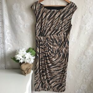 Dress Barn Faux Wrap Dress Cap Sleeve Black Tan 12